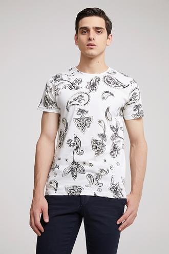 Twn Slim Fit Beyaz Baskılı T-shirt - 8681779098744 | D'S Damat