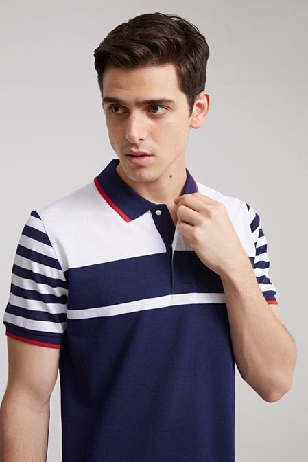 Ds Damat Regular Fit Lacivert Çizgili T-shirt - 8681779112495   D'S Damat