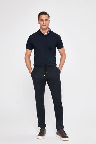 Twn Slim Fit Lacivert Örme Jogger Kumaş Pantolon - 8682445501322 | D'S Damat