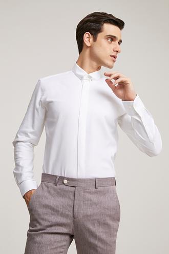 Twn Slim Fit Beyaz Armürlü Yaka İğneli Gömlek - 8682060841315 | D'S Damat