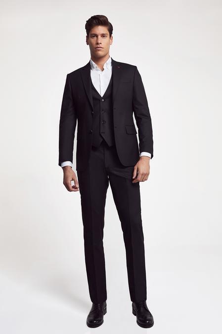 Ds Damat Slim Fit Slim Fit Siyah Yelekli Takım Elbise - 8682060660848 | D'S Damat