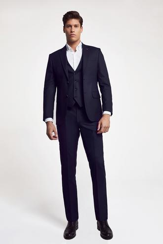 Ds Damat Slim Fit Slim Fit Lacivert Yelekli Takım Elbise - 8682060660893 | D'S Damat