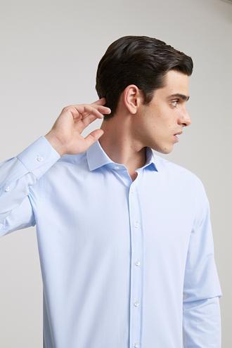 Ds Damat Slim Fit Mavi Düz Gömlek - 8682445048735 | D'S Damat