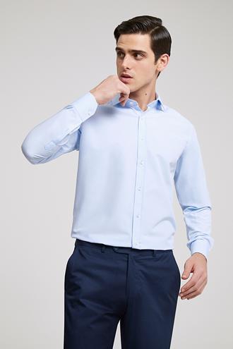 Ds Damat Slim Fit Mavi Düz Gömlek - 8682445069778 | D'S Damat