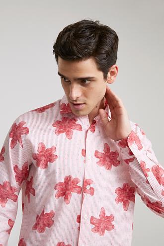 Ds Damat Slim Fit Kırmızı Baskılı Gömlek - 8682060496089 | D'S Damat