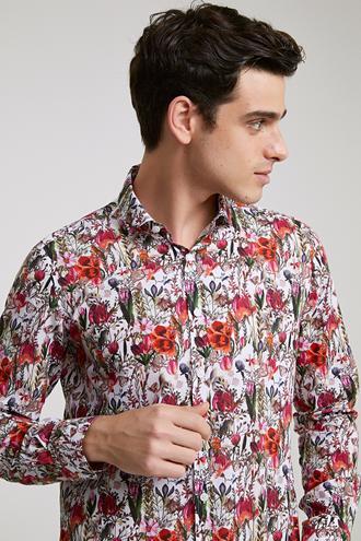 Twn Slim Fit Karma Renk Baskılı Gömlek - 8682060346988   D'S Damat