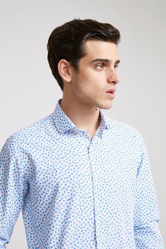 Twn Slim Fit Mavi Baskılı Gömlek - 8682060917140 | D'S Damat