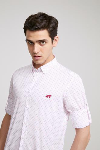 Twn Slim Fit Beyaz Baskılı Gömlek - 8681778877678 | D'S Damat
