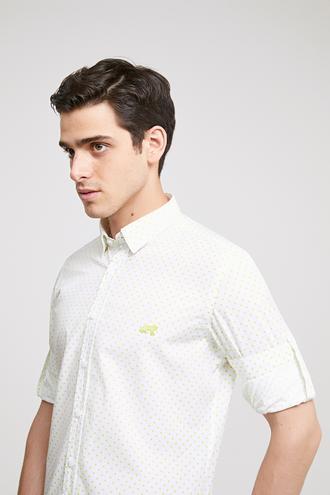 Twn Slim Fit Beyaz Baskılı Gömlek - 8681778877777 | D'S Damat