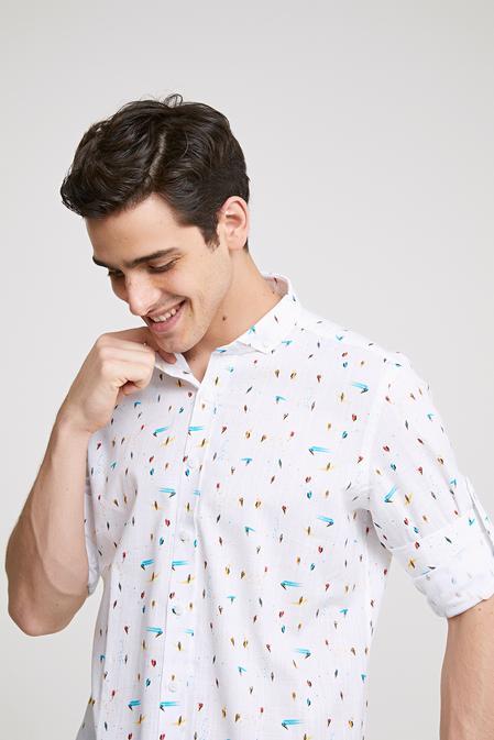 Twn Slim Fit Beyaz Baskılı Gömlek - 8681779096931   D'S Damat