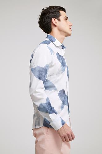 Twn Slim Fit Karma Renk Baskılı Gömlek - 8681779097136 | D'S Damat