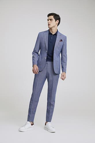 Ds Damat Slim Fit Slim Fit Lacivert Desenli Takım Elbise - 8681778939833 | D'S Damat