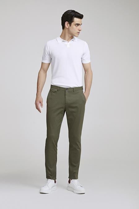 Twn Slim Fit Yeşil Armürlü Chino Pantolon - 8682060592422 | D'S Damat