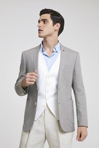 Twn Süper Slim Fit Bej Desenli Kombinli Takım Elbise - 8681778134832   D'S Damat