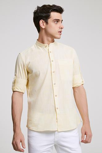 Twn Slim Fit Sarı Çizgili Gomlek - 8681779902089 | D'S Damat