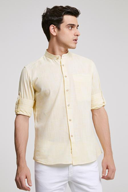 Twn Slim Fit Sarı Çizgili Gömlek - 8682445389098 | D'S Damat