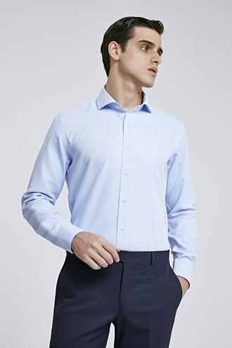 Ds Damat Slim Fit Mavi Armürlü Gömlek - 8682060787118 | D'S Damat