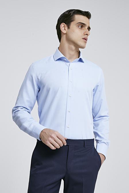 Ds Damat Slim Fit Mavi Armürlü Gomlek - 8682060787118 | D'S Damat