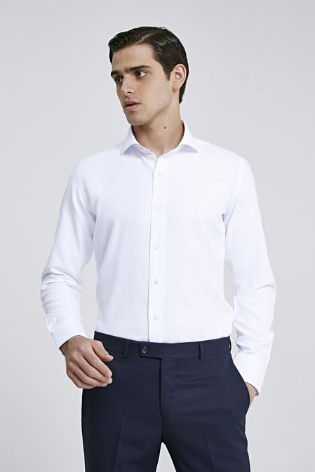 Ds Damat Slim Fit Beyaz Armürlü Gomlek - 8682060787163 | D'S Damat