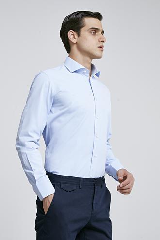 Ds Damat Slim Fit Mavi Armürlü Gomlek - 8682060787217 | D'S Damat