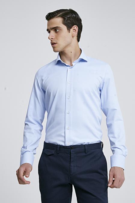Ds Damat Slim Fit Mavi Armürlü Gomlek - 8682060787323 | D'S Damat
