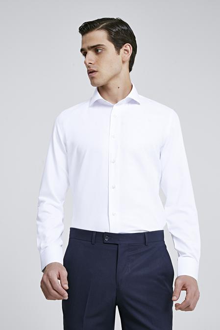Ds Damat Slim Fit Beyaz Armürlü Gomlek - 8682060787361 | D'S Damat