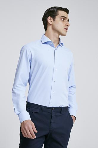 Ds Damat Slim Fit Mavi Armürlü Gomlek - 8682060787415 | D'S Damat