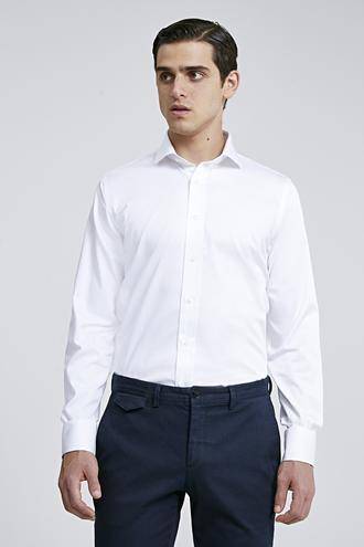 Ds Damat Slim Fit Beyaz Düz Gömlek - 8682445068863 | D'S Damat