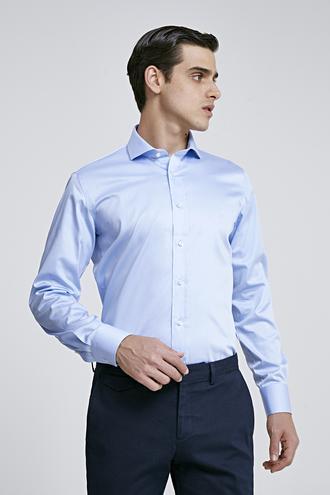 Ds Damat Slim Fit Mavi Düz Nano Care Gömlek - 8682445045864 | D'S Damat
