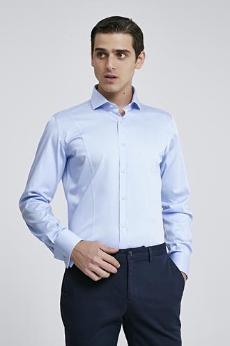 Ds Damat Slim Fit Mavi Düz Gömlek - 8682445047745 | D'S Damat