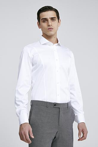Ds Damat Slim Fit Beyaz Düz Gömlek - 8682445047509 | D'S Damat