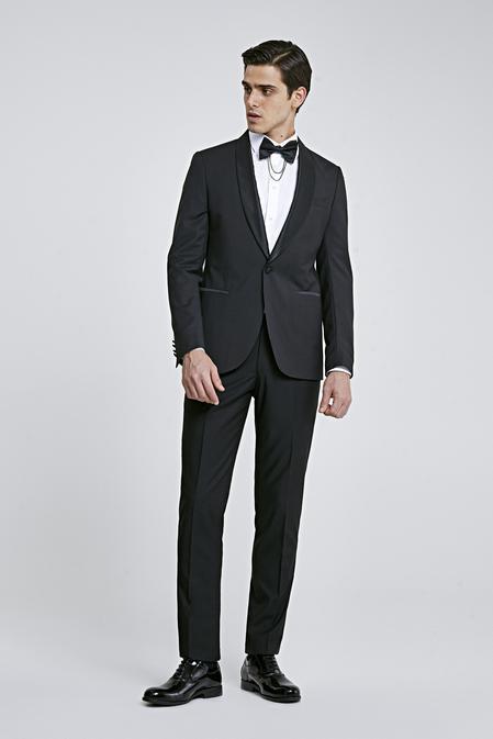 Twn Slim Fit Siyah Düz Smokin Takım Elbise - 8682060614735 | D'S Damat