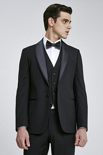 Twn Slim Fit Siyah Smokin Yelekli Takım Elbise - 8682445214833 | D'S Damat