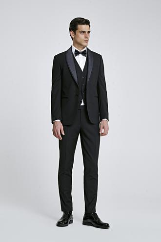 Twn Slim Fit Siyah Düz Smokin Yelekli Takım Elbise - 8681779948865 | D'S Damat
