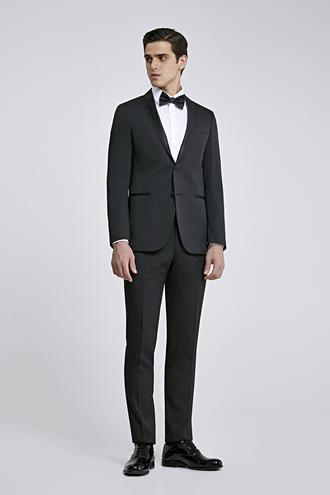 Ds Damat Slim Fit Siyah Armürlü Smokin Takım Elbise - 8681779975588 | D'S Damat