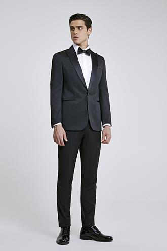 Ds Damat Slim Fit Siyah Armürlü Smokin Takım Elbise - 8681779975953 | D'S Damat