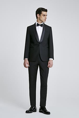 Ds Damat Slim Fit Siyah Düz Smokin Takım Elbise - 8681779833345 | D'S Damat