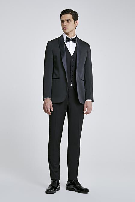Twn Slim Fit Siyah Armürlü Smokin Yelekli Takım Elbise - 8682060136473 | D'S Damat