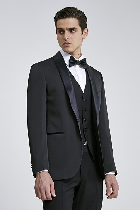 Twn Slim Fit Siyah Armürlü Smokin Yelekli Takım Elbise - 8682445071658 | D'S Damat