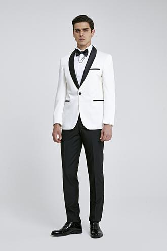 Ds Damat Slim Fit Beyaz Armürlü Smokin Takım Elbise - 8682445243611   D'S Damat