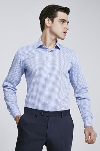 Ds Damat Slim Fit Mavi Baskılı Gömlek - 8681779862536 | D'S Damat