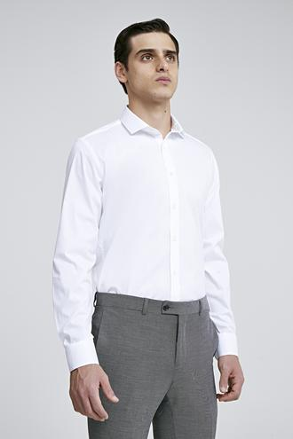 Twn Slim Fit Beyaz Düz Gömlek - 8682445044737 | D'S Damat