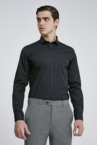 Twn Slim Fit Siyah Düz Gömlek - 8682060653420 | D'S Damat