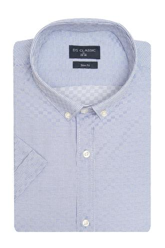 Ds Damat Slim Fit Mavi Armürlü Gömlek - 8682060805546 | D'S Damat