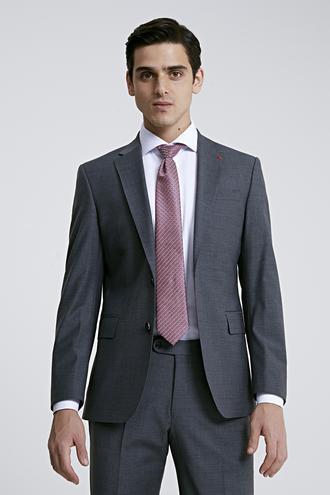 Ds Damat Slim Fit Gri Düz Travel Takım Elbise - 8682445053883 | D'S Damat