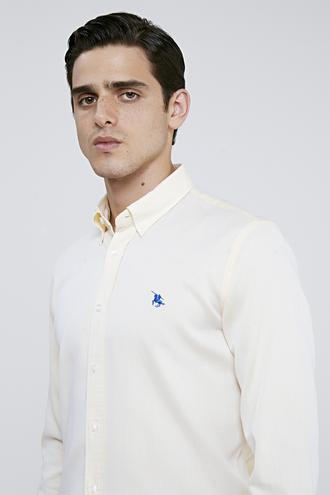 Ds Damat Slim Fit Sarı Armürlü Gömlek - 8682445019698 | D'S Damat