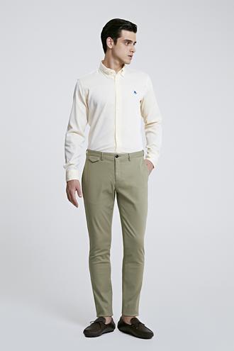 Twn Slim Fit Yeşil Armürlü Chino Pantolon - 8682445331929 | D'S Damat