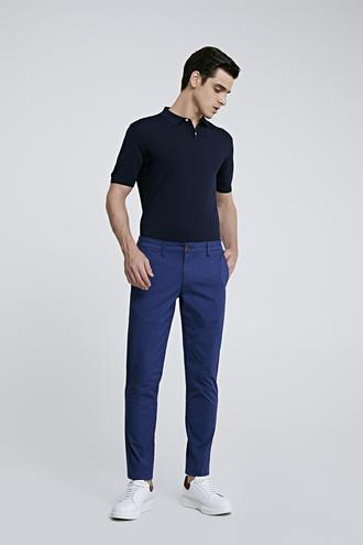 Ds Damat Slim Fit Lacivert Baskılı Chino Pantolon - 8682060158567 | D'S Damat