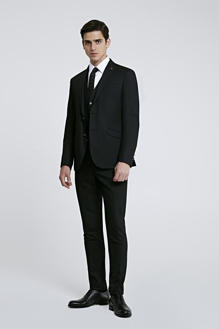 Twn Slim Fit Slim Fit Siyah Armürlü Yelekli Takım Elbise - 8682060364715 | D'S Damat