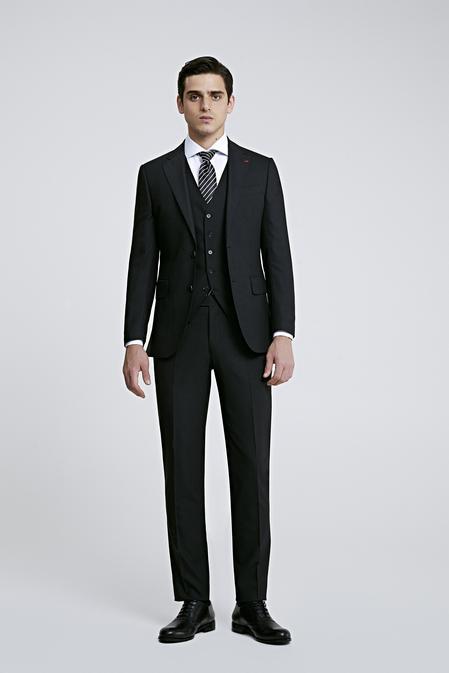 Ds Damat Slim Fit Antrasit Armürlü Yelekli Takım Elbise - 8682445106701 | D'S Damat